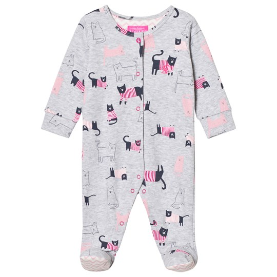 Tom Joule Grey Marl Cat Print Jersey Footed One-Piece GREY MARL CAT