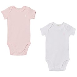 United Colors of Benetton 2 Pack S/S Vest Bodys With Bunny Logo Detail White&Pink