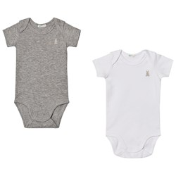 United Colors of Benetton 2 Pack Baby Body with Bunny White & Grey