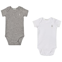 United Colors of Benetton 2 Pack S/S Vest Bodys With Bunny Logo Detail White&Grey White&Grey
