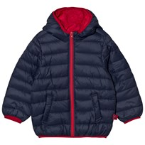 United Colors of Benetton Hooded Puffer Coat with Contrast Color Lining Navy Navy