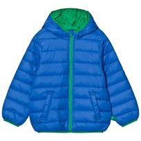 United Colors of Benetton Hooded Puffer Jacket with Contrast Color Lining Bright Blue BRIGHT  BLUE