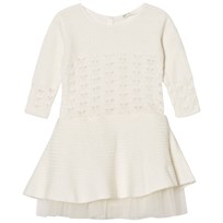 United Colors of Benetton L/S Knit Dress With Cut Out Details White White