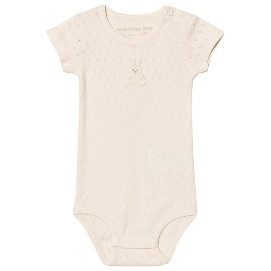 United Colors of Benetton Organic Cotton Baby Body with Bunny Detail Cream Cream