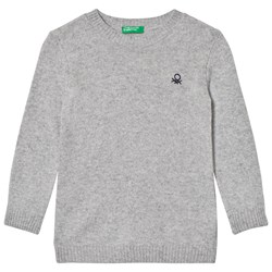 United Colors of Benetton Crew Neck Knit Jumper With Logo Light Grey