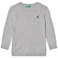 United Colors of Benetton Crew Neck Knit Jumper With Logo Light Grey Light Grey