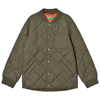 United Colors of Benetton Padded Bomber Jacket With Contrast Colour Lining Khaki Khaki