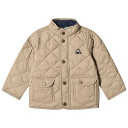 United Colors of Benetton Quilted Barn Jacket with Logo Beige