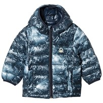 United Colors of Benetton Galaxy Print Hooded Puffer Coat Navy Navy