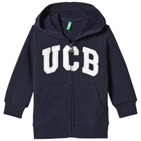 United Colors of Benetton Jersey Logo Zip Hoodie Navy Navy