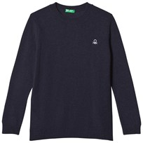 United Colors of Benetton Crew Neck Knit Jumper With Logo Navy Marinblå