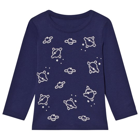 United Colors of Benetton L/S Planet Stud Detail T-Shirt Navy Navy