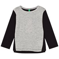 United Colors of Benetton Colour Block L/S T-Shirt With Tullebackpack Detail Black Black
