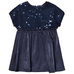 United Colors of Benetton Sequins Top A Line Dress Navy