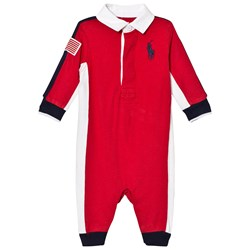 Ralph Lauren Red Colour Block Footless Hooded Babygrow