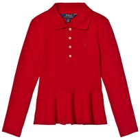 Ralph Lauren Red Long Sleeve Peplum Polo Top 001
