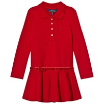 Ralph Lauren Red Long Sleeve Stretch Polo Dress 001
