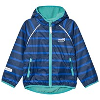 Muddy Puddles Blue and Navy Stripe EcoSplash Hooded Jacket Blue Stripe