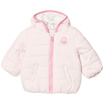 United Colors of Benetton Hooded Puffa Jacket With Jogo Light Pink Light Pink