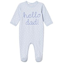 United Colors of Benetton Hello Dad All Over Print Footed Baby Body Light Blue Light Blue