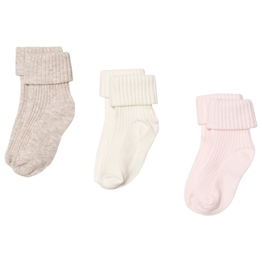 United Colors of Benetton 3 Pack Socks White, Pink & Beige WHITE,PINK&BEIGE