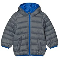 United Colors of Benetton Hooded Puffa Coat With Contrast Colour Lining Grey Grey
