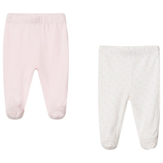 United Colors of Benetton 2 Pack Plain & Printed Footed Pants Pink & White PINK&WHITE