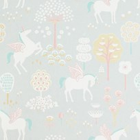 Majvillan rue Unicorn Wallpaper Grey Musta