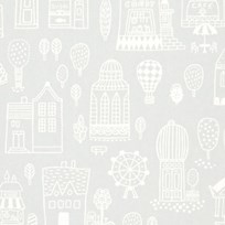 Majvillan Small Town Wallpaper Grey Musta
