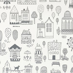Image of Majvillan Small Town Wallpaper Black (2760532449)