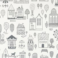 Majvillan Small Town Wallpaper Black Black