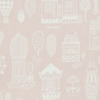 Majvillan Small Town Wallpaper Pink Pink