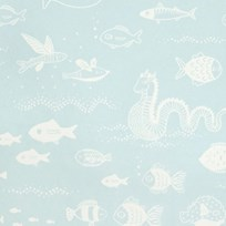 Majvillan Big Blue Wallpaper Dusty Turquoise Blue
