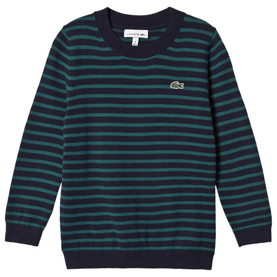 Lacoste Navy and Green Stripe Branded Knit Jumper TL4
