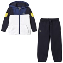 Lacoste Navy and White Panel Diamond Weave Tracksuit U4V