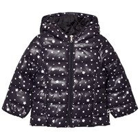 United Colors of Benetton Star Print Hooded Puffa Coat Black Black