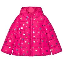 United Colors of Benetton Star Print Hooded Puffer Coat Fuschia Fuschia