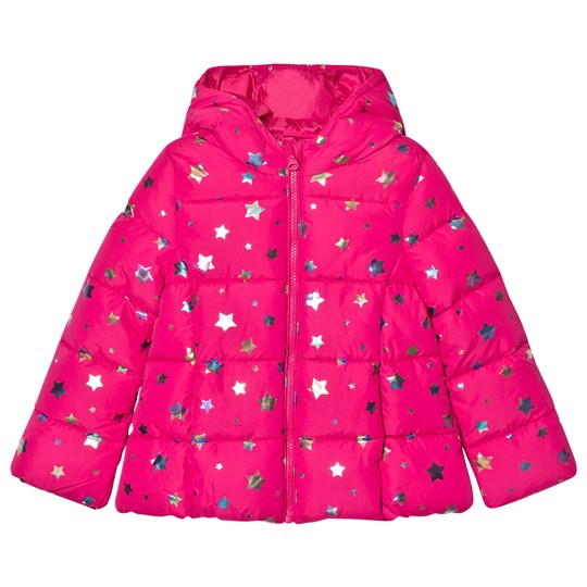 United Colors of Benetton Star Print Hooded Puffa Coat Fuschia Fuschia