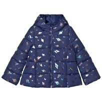 United Colors of Benetton Planet Print Hooded Puffer Coat Navy Navy