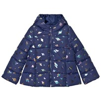 United Colors of Benetton Planet Print Hooded Puffa Coat Navy Marinblå