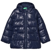United Colors of Benetton Hooded Puffa Coat Navy Marinblå