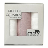 Les Enfants Muslin Squares 3-pack pink/ white Pink/ White