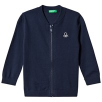 United Colors of Benetton L/S Knit Zip Jacket Navy Marinblå