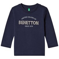 United Colors of Benetton L/S Logo T-Shirt Navy Marinblå