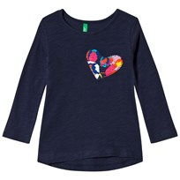 United Colors of Benetton L/S Slub Cotton T-Shirt With Printed Heart Pocket Navy Marinblå