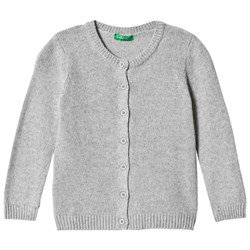 United Colors of Benetton Cashmere Wool Mix L/S Cardigan Light Grey