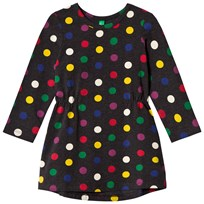 United Colors of Benetton Polka Dot Print L/S Jersey Dress Charcoal Charcoal