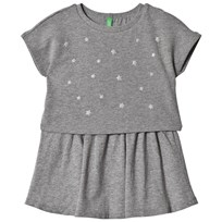 United Colors of Benetton S/S Layered Jersey Dress With Star Studs Mid Grey Mid Grey