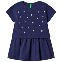 United Colors of Benetton S/S Layered Jersey Dress With Star Studs Navy Navy
