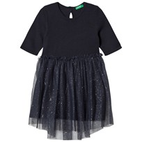 United Colors of Benetton L/S Knit Dress With Micro Star Print Tulle Skirt Navy Navy